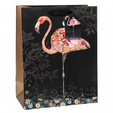 Fabulous Pink Flamingo Gift Bags, Gold Foil Art 26 x 32 x 13cm LARGE, Pack of 3 - Free Tissue